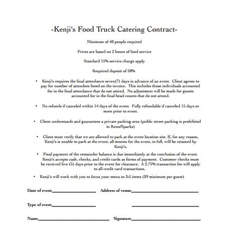 Food Truck Catering Contract Pdf Free Download Catering Templates In 2019 Food Truck Buffet Contract Template
