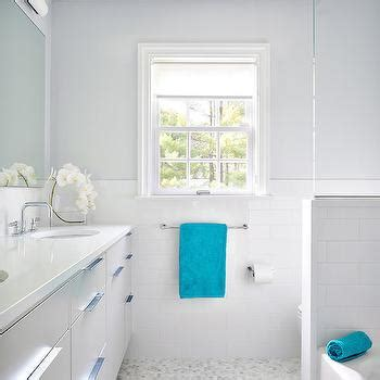 grey and turquoise bathroom shower pony walls design ideas