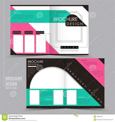 Ad Folding Business Card Template by Modern Geometric Style Half Fold Template Brochure Stock