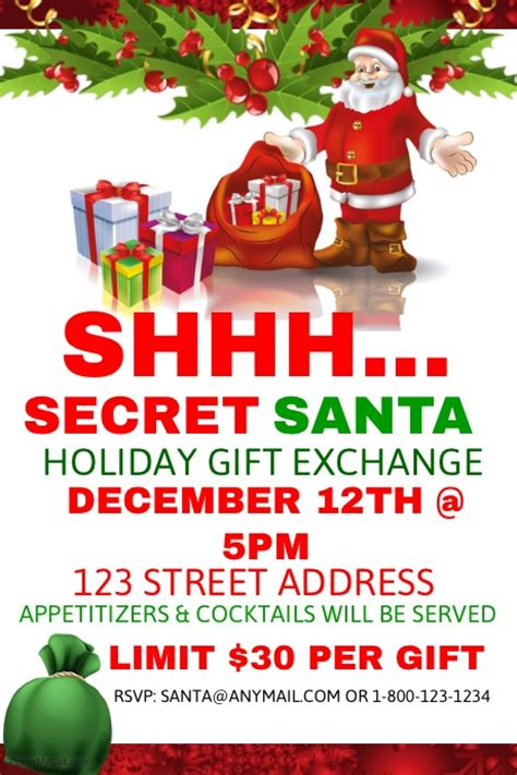 secret exchange secret santa gift exchange template postermywall