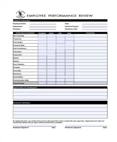 performance evaluation form templates 9 performance evaluation form sles free sle