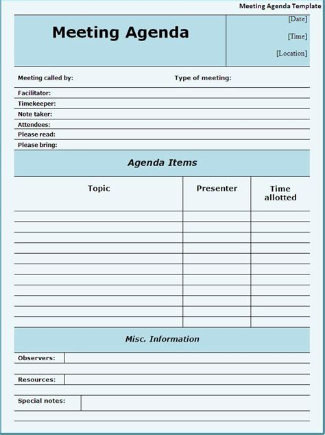 meeting agenda template download page word excel pdf