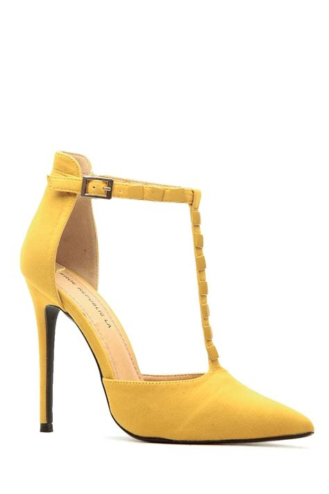 mustard faux suede pointed toe studded t heels
