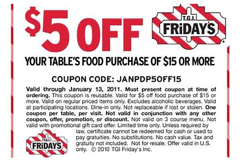 fridays coupons january 2018