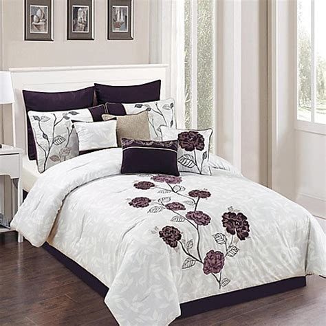 plum colored bedding abigail 10 comforter set in plum grey bed bath