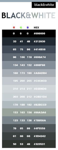 color code for black rgb and hex codes for different skin and hair tones