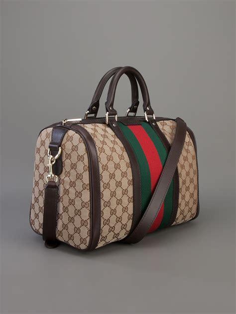 Gucci Boston Bag lyst gucci vintage web boston bag in brown