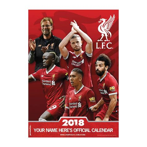 Personalised Calendar 2018 Liverpool Fc Personalised Calendar 2018 Liverpool Fc