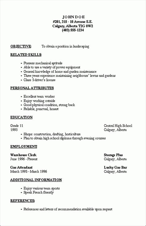 standard format of resume for internship basic resume outline template learnhowtoloseweight net