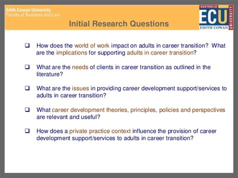 cdaa ecu career development research topics