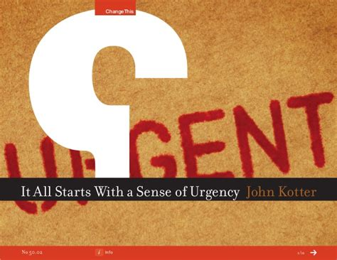 kotter sense of urgency it all starts with a sense of urgency a changethis