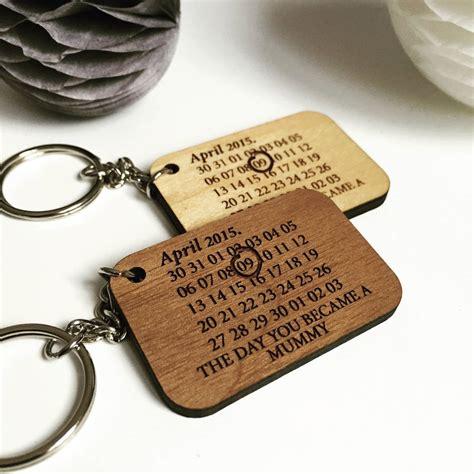 Calendar Key Ring Personalised Calendar Date Wooden Keyring By