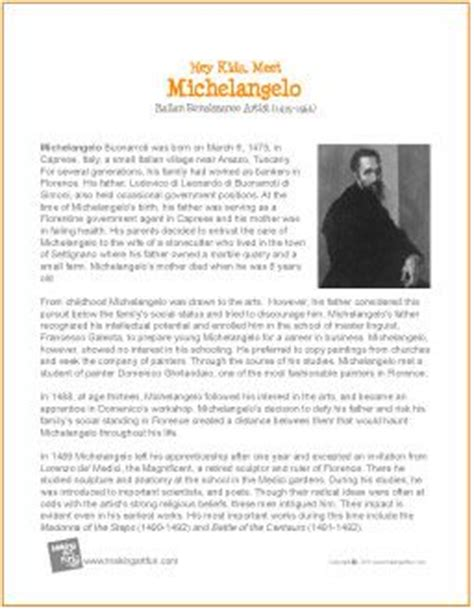michelangelo biography for students michelangelo printable biography art for kids pinterest