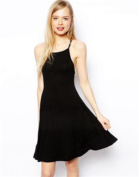 44064 sling basic dress the 2015 european cross sling simple black halter dress