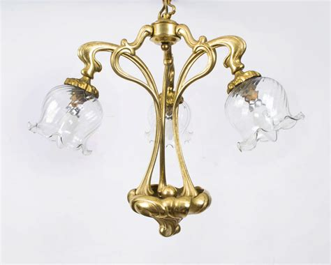 Regent Antiques   Lights   Vintage Brass Three Light Art Nouveau Chandelier