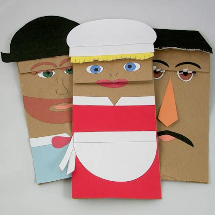 Make Paper Puppets - how to make paper bag puppets puppets around the world