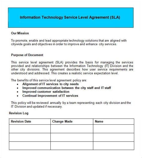 sample service level agreement templates  word pages sample templates