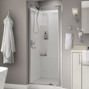 Custom Bathroom Design Pivoting Shower Door Installation Delta Faucet