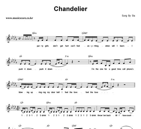 Chandelier Chords Sia Chandelier Chords Chandelier Sheet By Sia Piano Vocal Guitar Right Melody 155055