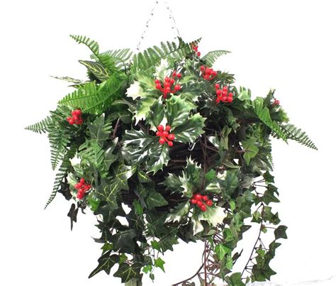 Artificial Christmas Centerpieces - holly and greenery christmas basket by artificial landscapes notonthehighstreet com