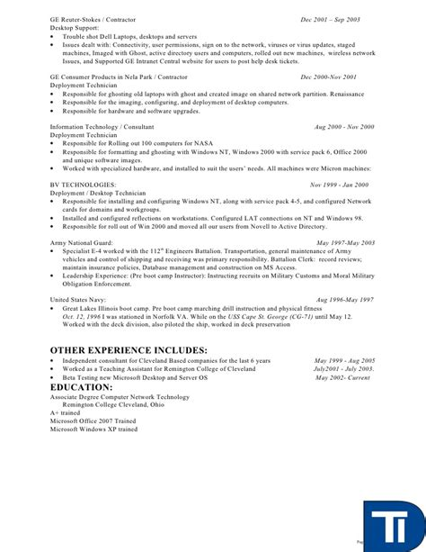 Desktop Support Technician Resume by David Kester Resume Deskside