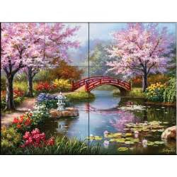 Home Depot Wall Murals The Tile Mural Store Japanese Garden 24 In X 18 In