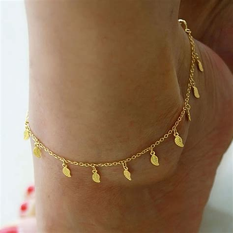 simple gold anklet ankle bracelet leaf foot chain