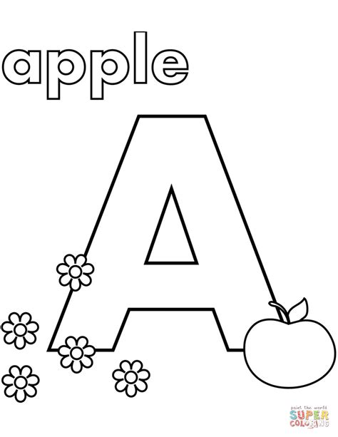 color with letter a a is for apple coloring page free printable coloring pages