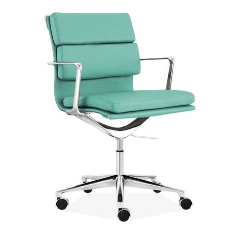 cult living turquoise back soft pad office chair