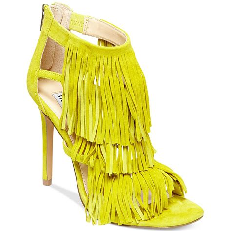 steve madden fringly yellow suede aversa shoes s r l