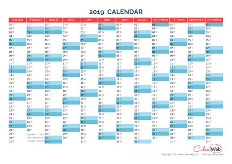 printable year planner 2019 yearly calendar year 2019 yearly horizontal planning