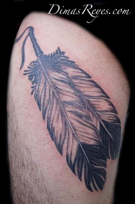 tattoo feather native american realistic black and grey feathers tattoo by dimas reyes