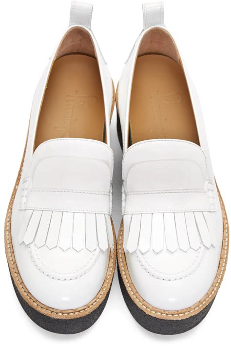 white platform loafers flamingos white patent platform wellington loafers