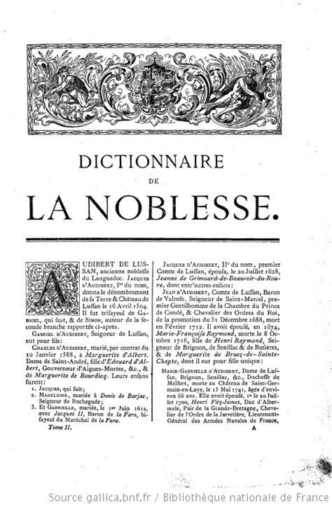 Dictionnaire de la noblesse : contenant les généalogies, l