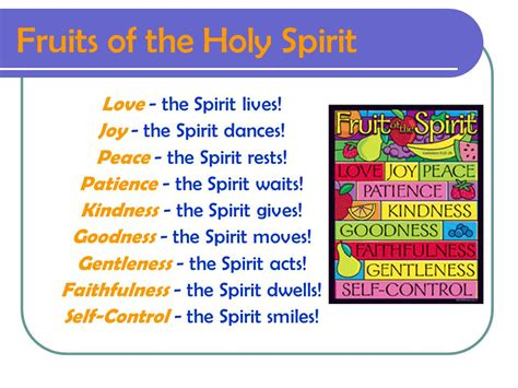7 fruits of the holy spirit and their meanings fruits of the holy spirit ppt