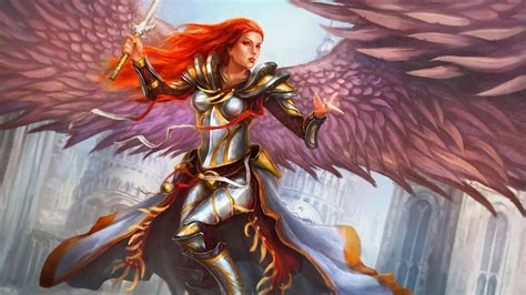 angel redhead fantasy girl feather wings ultra