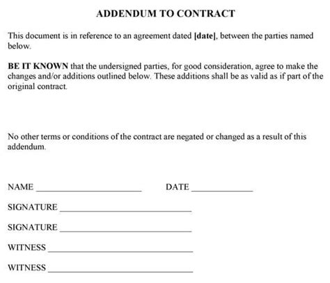 contract addendum template template design