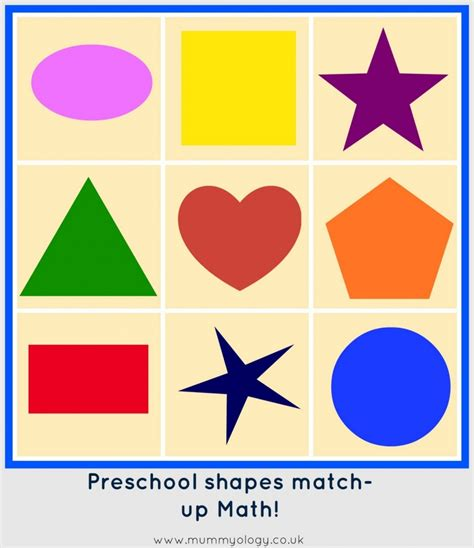 printable shapes games for kindergarten preschool math shape match up mummyology