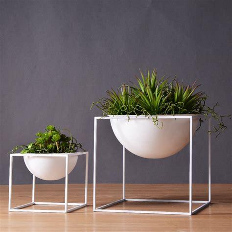 Plant Planters by Black White Modern Tabletop Waterproof Cube Metal Flower