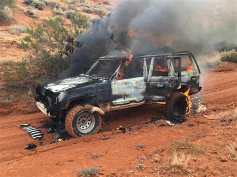 jeep cherokee fire explosions heard as jeep catches fire in desert ignites