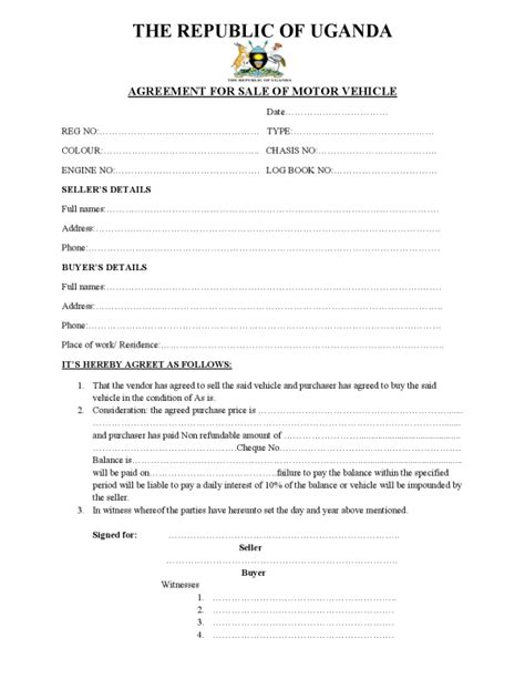motor vehicle sales agreement template republic of uganda sle motor vehicle sale agreement