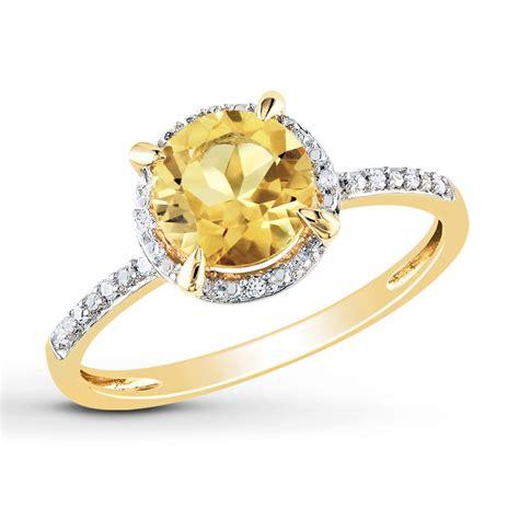 jared citrine ring 1 20 ct tw diamonds 10k yellow gold