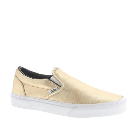 metallic sneakers lyst j crew vans classic slip on sneakers in metallic in