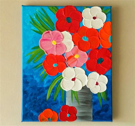 Acrylic Painting Of Flowers In A Vase by Original Acrylic Flower Vase Painting Flowers In Vase