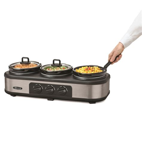 Bella Triple Slow Cooker And Warming Station Ebay Cooker Buffet Server