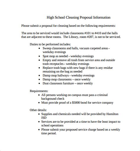 Sle Cleaning Proposal Template 9 Free Documents In Pdf Rfp For Cleaning Services Template