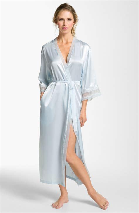 oscar de la renta robe oscar de la renta satin robe in blue blue vapor