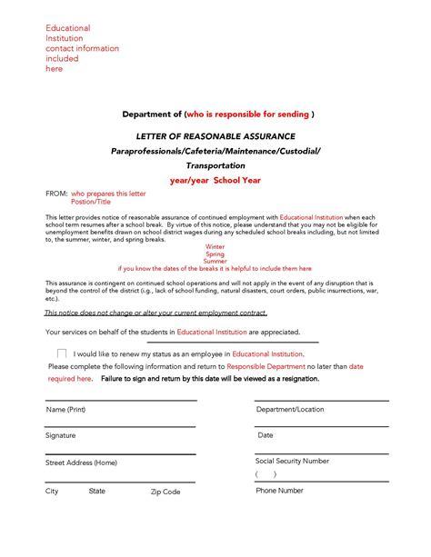 Assurance Letter Format Sle Guideline A Sle Reasonable Assurance Letter