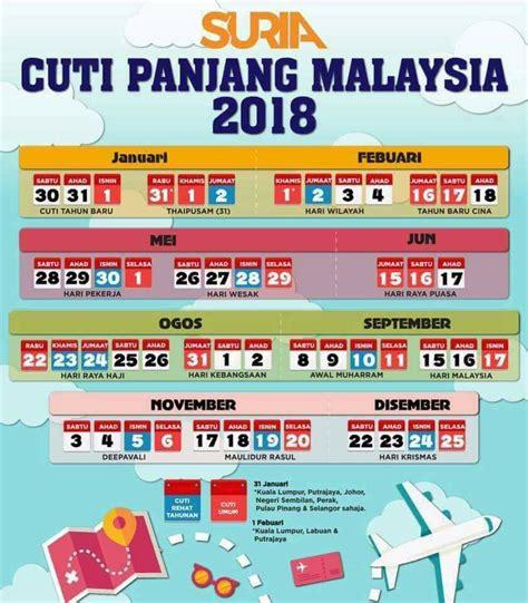 Kalender 2018 Sabah Senarai Tarikh Cuti Panjang Kalendar Tahun 2018 Di