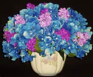 silk flower arrangement blue hydrangea amp lavender lilacs